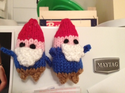 Tiny knitted gnome magnets. Need I say more?