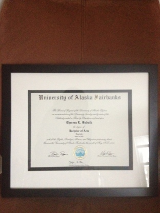 Some years later, it's finally framed. English major for life!
