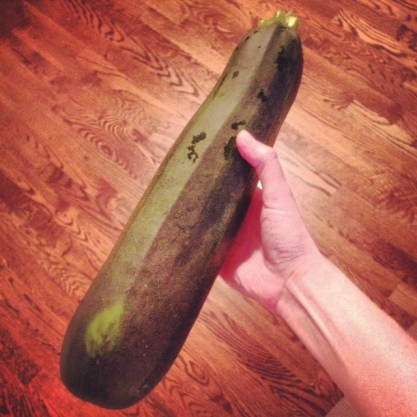 Ginormous zucchini discovered in the depths of the garden.